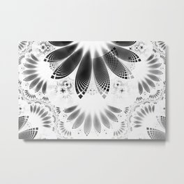 Silver Shikoba - Beautiful Black on White Fractal Paisley Forming Feathered Wings Metal Print