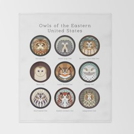 Owls of the Eastern United States (Labled) Throw Blanket