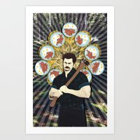 ron swanson Art Prints featuring Ron Swanson by yakawonis