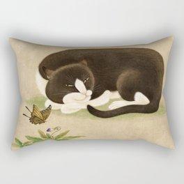 Minhwa: cat & butterfly 2 (Korean traditional/folk art)  Rectangular Pillow