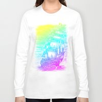 pirate ship Long Sleeve T-shirts featuring Caleuche Ghost Pirate Ship - Color by Roberto Jaras Lira