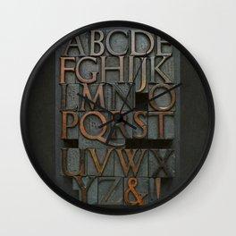 Vintage Letter Press Alphabet Wall Clock
