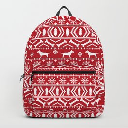 Bull Terrier fair isle christmas sweater pattern dog breed holiday winter Backpack