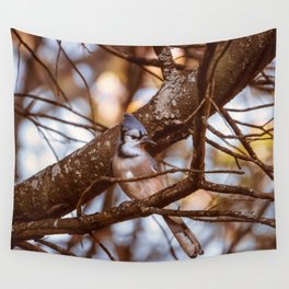 Autumn Bluejay Wall Tapestry