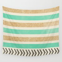 allyson johnson Wall Tapestries featuring MINT AND GOLD STRIPES AND ARROWS by Allyson Johnson