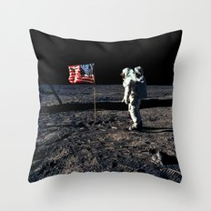 Buzz Aldrin and the U.S. Flag on the Moon Throw Pillow