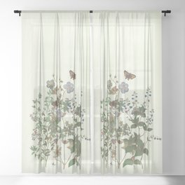 The fragility of living - botanical illustration Sheer Curtain