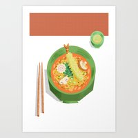 ramen Art Prints featuring RAMEN by Thom BRANSDON Illustration