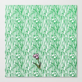 Garden Blooms - seamless pattern grass and flowers Canvas Print