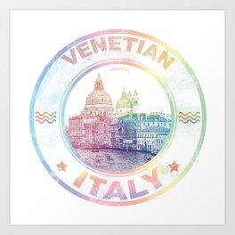 Venetian Italy Colorful Vintage Poster Art Print