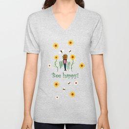 Bee happy Unisex V-Neck