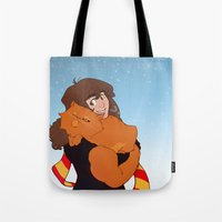 hermione Tote Bags featuring Hermione and Crookshanks by AnimonInk