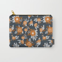 Texas longhorns orange and white university college texan football floral pattern Carry-All Pouch
