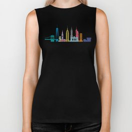 New York Skyline Black Biker Tank