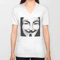 anonymous V-neck T-shirts featuring Anonymous by nicole carmagnini