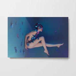 Butterfly Lady in Deep Blue Metal Print