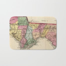 Vintage Map of The Florida Panhandle (1870) Bath Mat