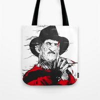 freddy krueger Tote Bags featuring Freddy by Akyanyme
