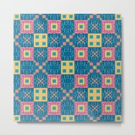 Classic Pretty Quilt Geometric Print in Yellow Pink and Blue Metal Print