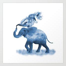 Blue Smoky Clouded Elephant Art Print