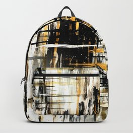 Black and Gold Plaid Backpack
