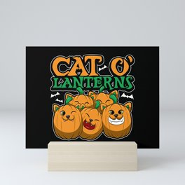 Cat O'Lanterns - Kitten Pumpkins - Feline Costume Mini Art Print