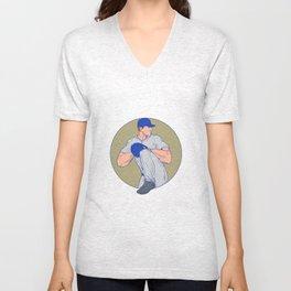 American Baseball Pitcher Throw Ball Circle Drawing Unisex V-Neck
