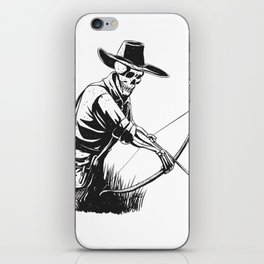 Cowboy skeleton with crossbow - black and white - gothic skull cartoon - ghost silhouette iPhone Skin