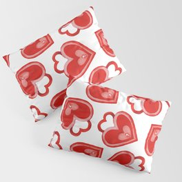 Watercolor Red Heart Locks Background Pillow Sham