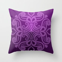 HUNGARIAN ORNAMENTS - Femininity mandala in purple Throw Pillow