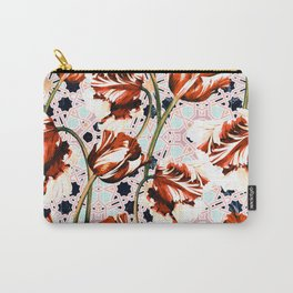 Tulips over pattern moroccan Carry-All Pouch
