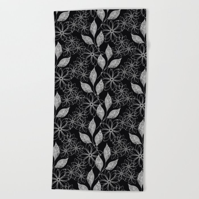 Abstract floral black and white pattern. Beach Towel