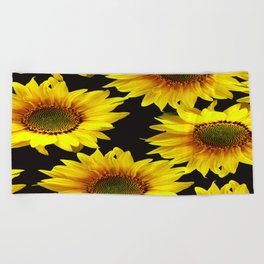 Large Sunflowers on a black background - #Society6 #buyart Beach Towel