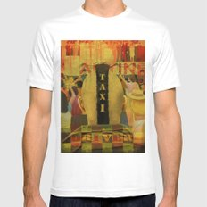 Taxi Driver MEDIUM White Mens Fitted Tee