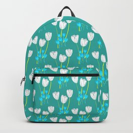 White tulips pattern Backpack