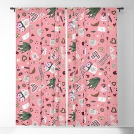 Pink Pastel Valentine Pattern Blackout Curtain