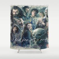 smaug Shower Curtains featuring the hobbit,the last goodbye,martin freeman,an unexpected journey,the desolation of smaug,the battle  by ira gora