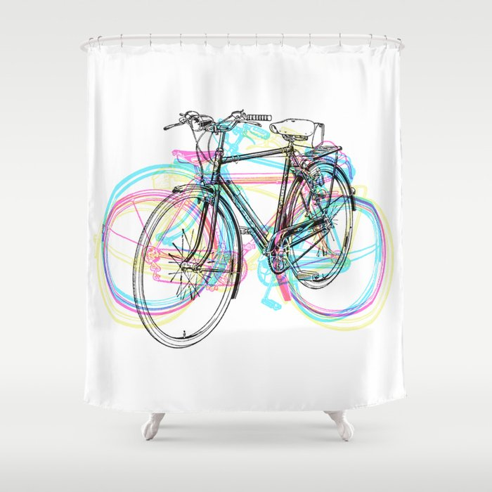 Artistic Modern Pink Teal Abstract Bicycles Art Shower Curtain