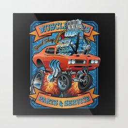 Classic Sixties Muscle Car Parts & Service Cartoon Metal Print