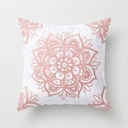 Rose Gold Mandalas on Marble Throw Pillow