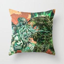 Cthulhu vs Godzilla Throw Pillow