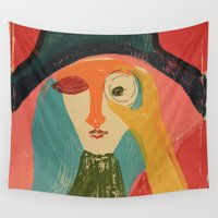 cinema Wall Tapestries featuring Women in Cinema by Mariana Baldaia