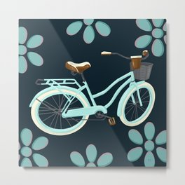 My Bike Floral Metal Print