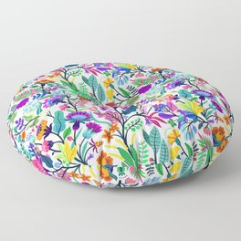 floral pattern with bright colorful flowers and tropic leaves on a white background. Modern floral background. Trendy Folk style. Floor Pillow