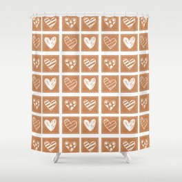 Doodle Heart Pattern with Fake Cork Texture Shower Curtain