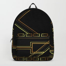 art deco gatsby black and gold lines geometric pattern Backpack
