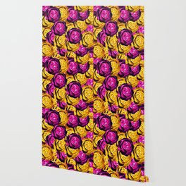 rose pattern texture abstract background in pink and yellow Wallpaper