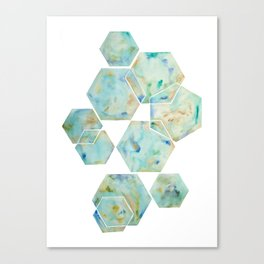 Blue Green Hexagon Arrangement Canvas Print