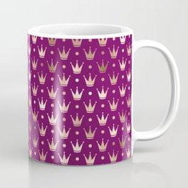 Purple & Rose Gold Crown Pattern Coffee Mug