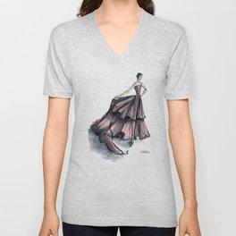 Audrey Hepburn in Pink dress vintage fashion Unisex V-Neck